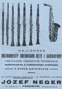 Реклама фабрики духових інструментів Ю. Негера (журнал «Orkiestra», Lwów, 1934, №5)